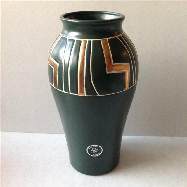 Green and Gold Art Deco Pottery Vase - Image 2 of 11