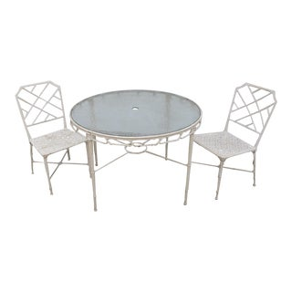 Vintage Brown Jordan Calcutta Patio Table & Chairs - 3 Pieces For Sale