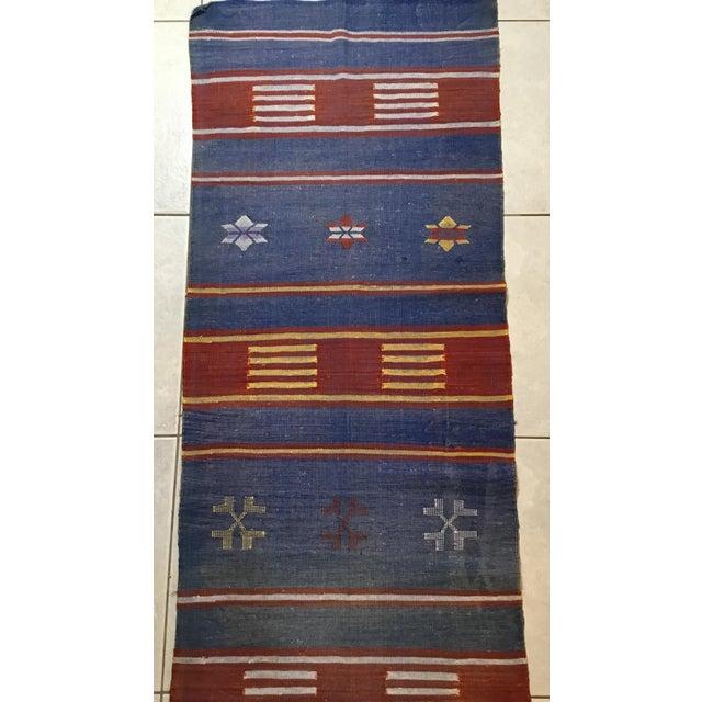 "Moroccan Cactus Silk Flat Weave Kilim Runner Rug - 25"" x 108"" - Image 6 of 11"