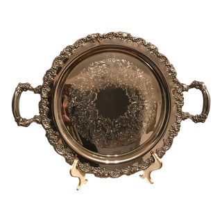 Vintage Silver Plate Heavy Round Tray