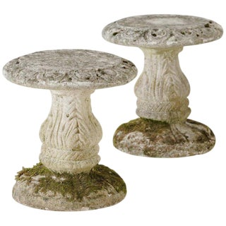 Mid-Century French Cement Garden Stools - a Pair For Sale