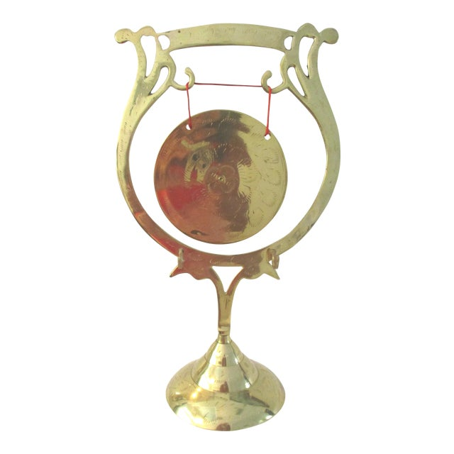 Vintage Lacquered Brass Engraved Table Gong For Sale
