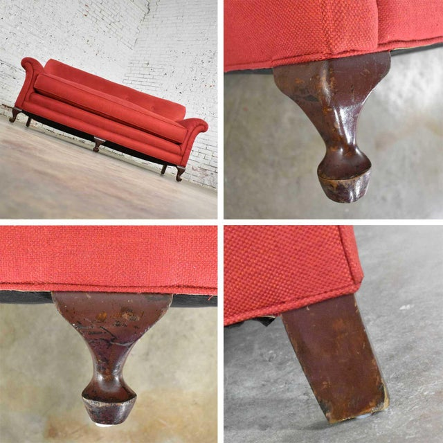 Red Smaller Size Lawson Sofa With Rolled Arms Down Bench Seat and Tight Back For Sale - Image 11 of 13