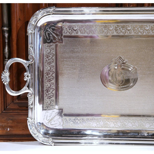 19th Century French Silver Plated Tray Signed Pelloutier & Cie, 1894 For Sale - Image 4 of 9