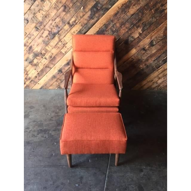 Custom Mid Century Lounge Chair With Ottoman - Image 3 of 6