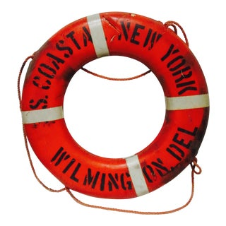 1950s Vintage Nautical Orange & White New York Life Preserver For Sale