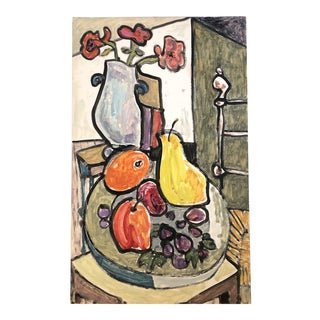 Original E.J.Hartmann Abstract Modernist Still Life Painting Room With Fruit & Flowers 1970's For Sale
