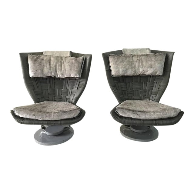 Marzio Cecchi Pair of Grey Woven Leather Swivel Chairs - Image 1 of 6