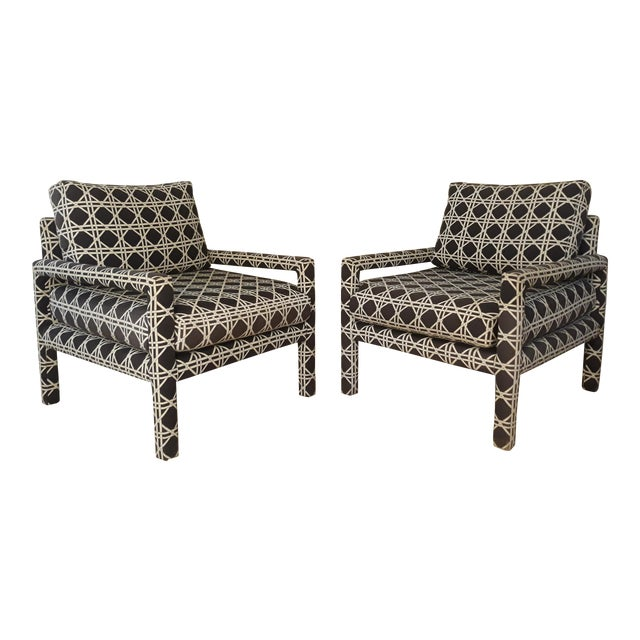 Mid Century Parsons Op Art Crossed Rope Design Black & White Upholstered Club Chairs - a Pair For Sale