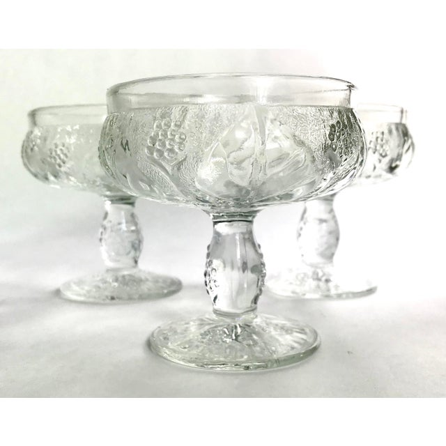Glass Vintage French Pressed Glass Coupe Champagne/Sorbet Glasses-Set of Three For Sale - Image 7 of 7