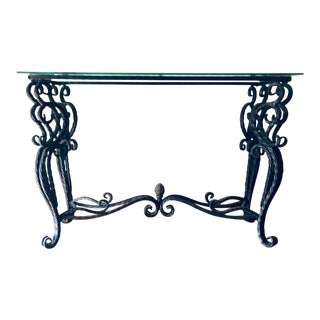 80s Wrought Metal Scrollwork Console For Sale