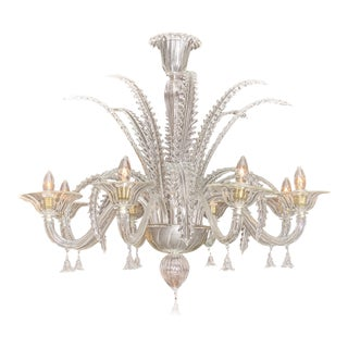 Clear Vintage Murano Glass Chandelier For Sale