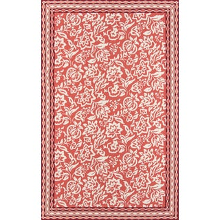 """Madcap Cottage Under a Loggia Rokeby Road Red Indoor/Outdoor Area Rug 3'9"""" X 5'9"""" For Sale"""