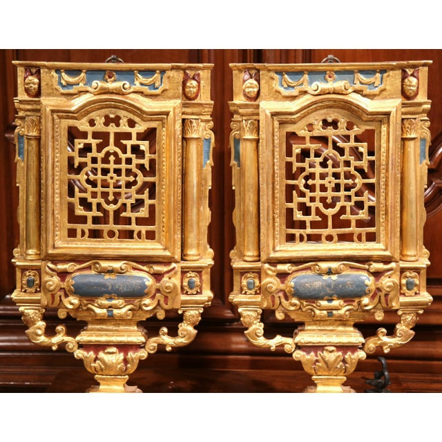 Rococo 18th Century Italian Carved Polychrome & Gilt Wall Carvings - A Pair For Sale - Image 3 of 10