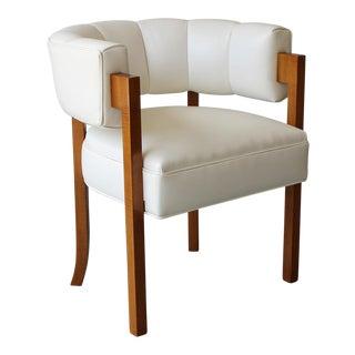 Vintage White Mid-Century Barrel Back Armchair For Sale
