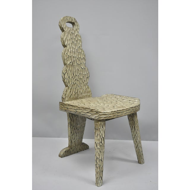Wood Contemporary High Back Carved Wood Side Chair For Sale - Image 7 of 12
