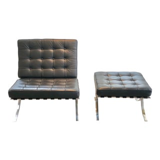Black Leather Reproduction Barcelona Chair and Ottoman For Sale