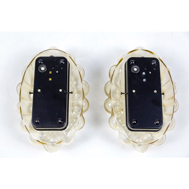Black Mid-Century Oval Amber Glass Bubble Tynell Style Flush Mounts - a Pair For Sale - Image 8 of 10