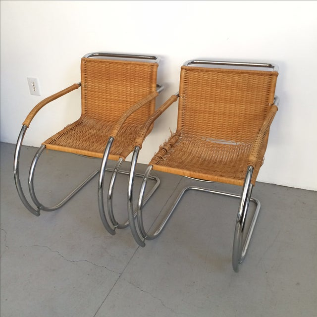 Mid-Century Modern Mies Van Der Rohe Mr Chrome Armless Chair For Sale - Image 3 of 9