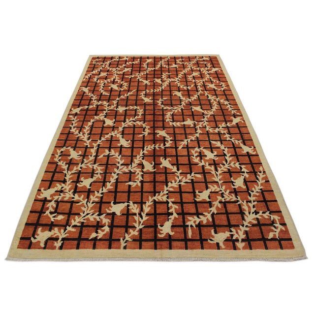 Textile Contemporary Ziegler Angle Drk. Orange Wool Rug - 5′11″ × 8′8″ For Sale - Image 7 of 9