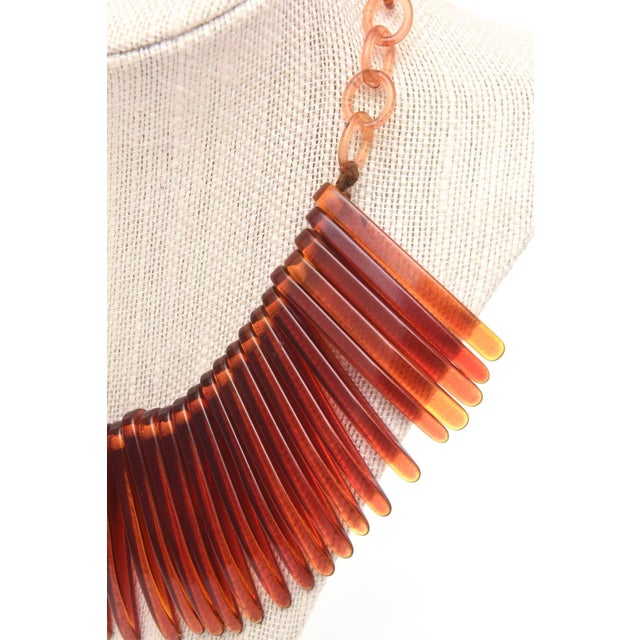 Vintage Tortoise Resin Fringe Collar Bib Necklace For Sale - Image 10 of 11