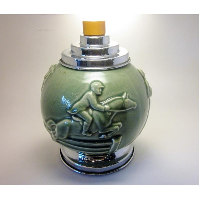 1930s Vintage Art Deco Rookwood Pottery Sports and Leisure Figural Theme Chrome Detail Bakelite Handle Cigarette Dispenser For Sale - Image 5 of 10