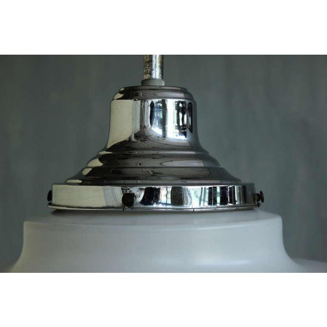 Art Deco Frosted Glass Ceiling Fixture For Sale - Image 3 of 10