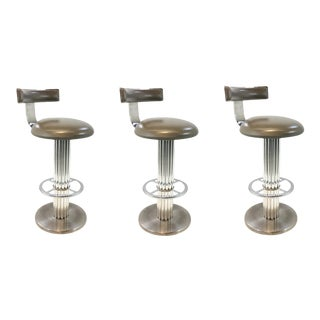 Mid-Century Modern Vintage Chrome and Gray Vinyl Swivel Bar Stools Set of Three For Sale