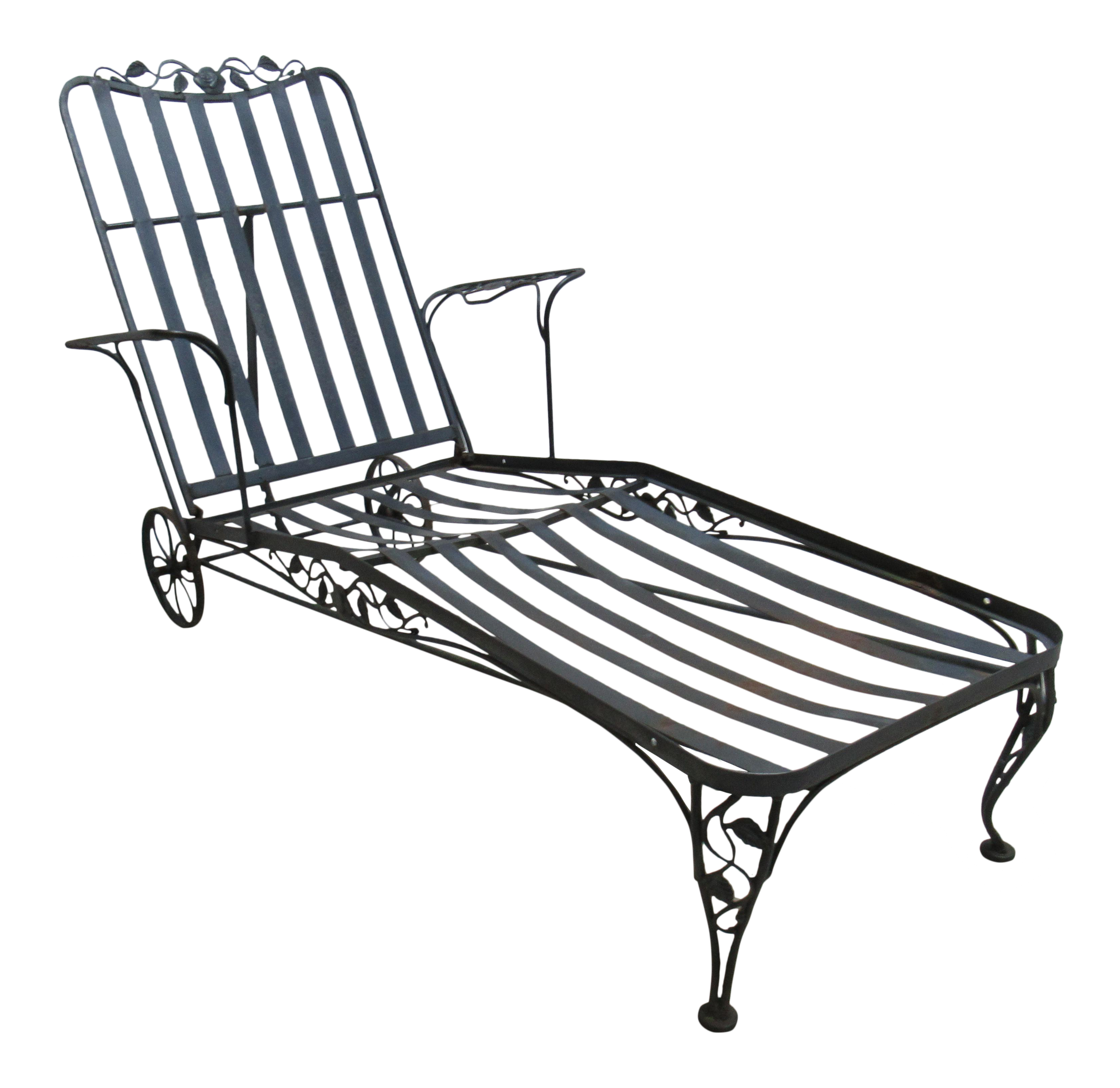 Vintage Woodard Wrought Iron Outdoor Patio Chaise Lounge Chair