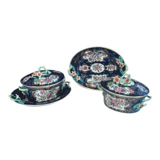 First Period Worcester Porcelain Blue Scale Botanical Sauce Tureens