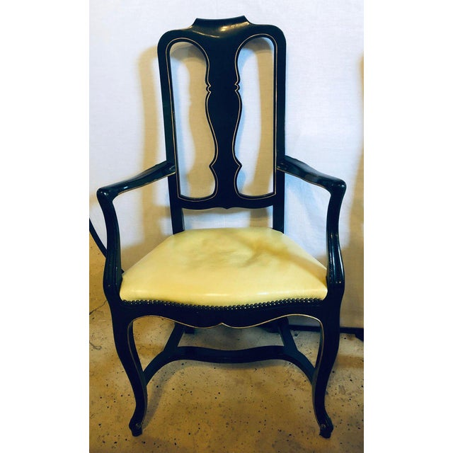 Hollywood Regency Set of Eight Queen Anne Ebonized and Gilt Decorated Dining Chairs For Sale - Image 3 of 13