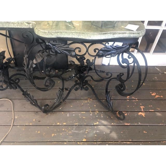 Large Antique French Marble Top Console Table Iron Base For Sale - Image 10 of 10