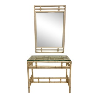 Ficks Reed Rattan Chippendale Style Console and Mirror For Sale