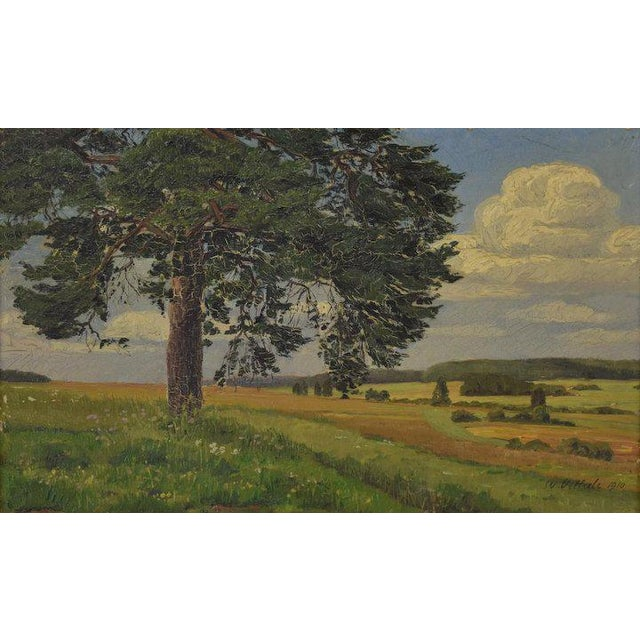 Lovely oil painting on board depicting a landscape scene under a cloud filled summer sky. From a Winnekta, Illinois estate...