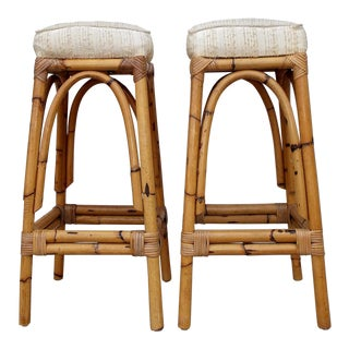 Pair of Mid-Century Rattan Backless Bar Counter Stools For Sale