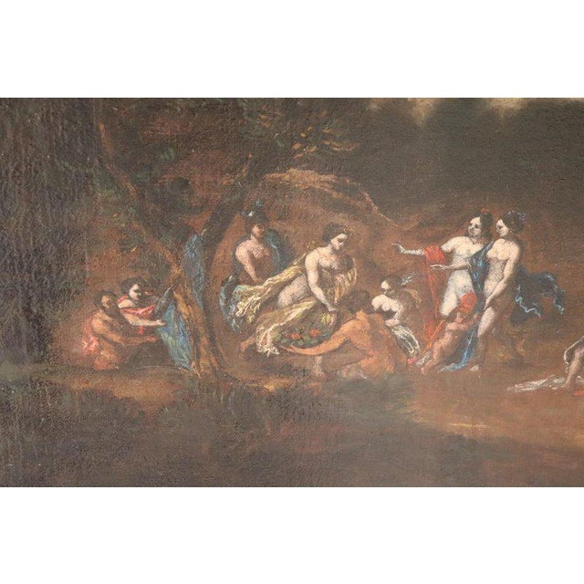 17th Century Italian Oil Painting on Canvas, Landscape With Figures For Sale - Image 6 of 13