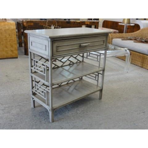 David Frances Chippendale Gray Rattan Side Table - Image 9 of 9