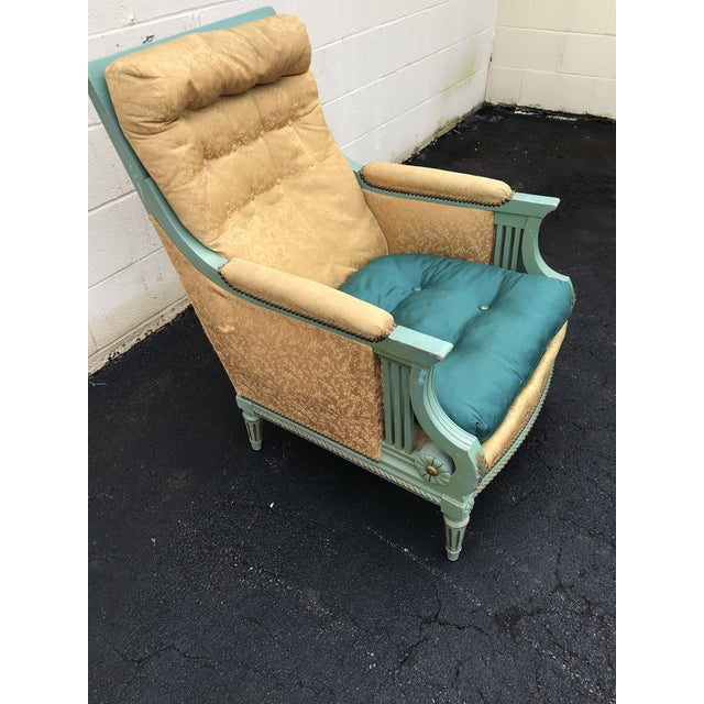 Traditional Antique Victorian Turquoise and Gold Upholstered Chair For Sale - Image 3 of 8
