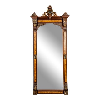 Pair of Victorian Walnut Pier Mirrors With Burl Wood For Sale