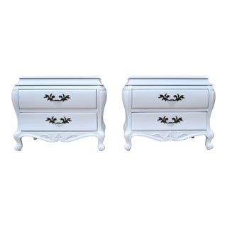 French Provincial Bombe Chests or Commodes, Pair For Sale