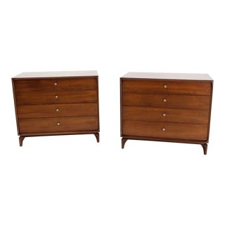 Mid-Century Modern Walnut 4 Drawer Bachelor Chests or Dressers- a Pair For Sale