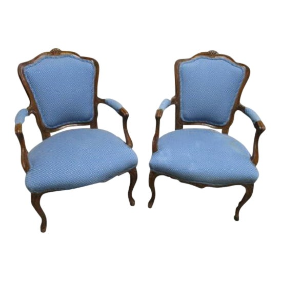 A Pair Bergere Chairs - Blue Antique French Country Accent Chair For Sale