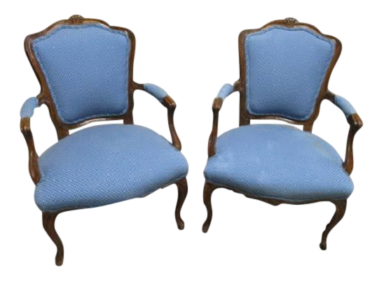 A Pair Bergere Chairs   Blue Antique French Country Accent Chair For Sale
