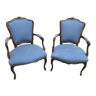 A Pair Bergere Chairs - Blue Antique French Country Accent Chqir
