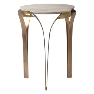 """""""Angel-Falls"""" Side Table in Cream Shagreen & Bronze-Patina Brass by R&y Augousti For Sale"""