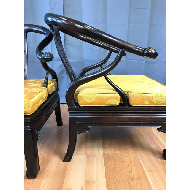 Chinese Rosewood Horseshoe Chow Chairs, 1920s - A Pair For Sale In San Francisco - Image 6 of 10