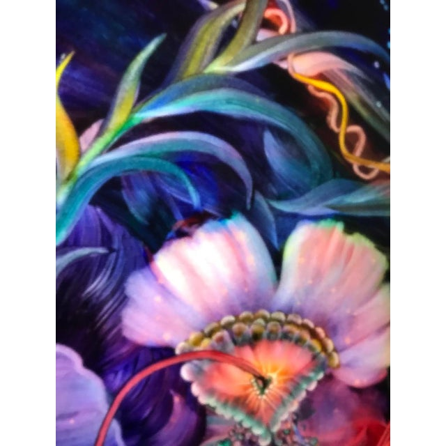 "Signed Original Ulla Darni Illuminating Flat Glass Painting ""Han and Hanini"" For Sale - Image 9 of 11"