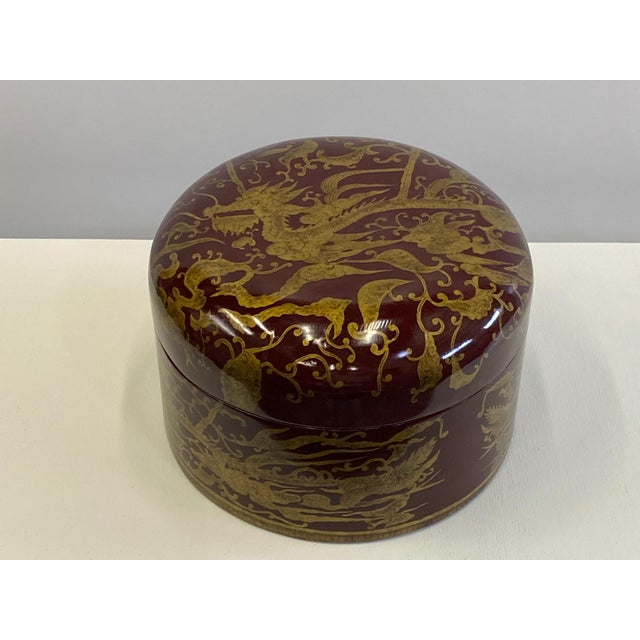 1980s Maitland Smith Red Lacquer & Giltwood Box For Sale - Image 5 of 10