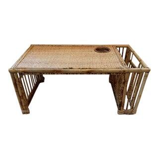 Vintage Wicker Rattan Lap Tray / Bamboo Breakfast Tray For Sale