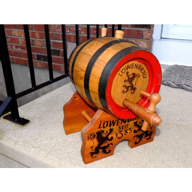Lowenbrau Beer Wood Keg & Base - Image 2 of 11